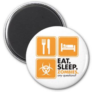 Eat Sleep Zombies - Orange Magnet