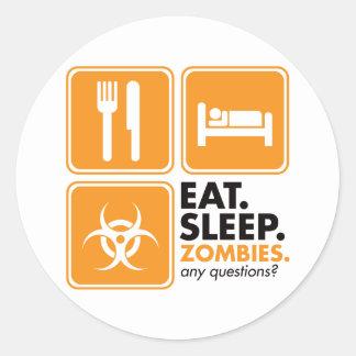 Eat Sleep Zombies - Orange Classic Round Sticker