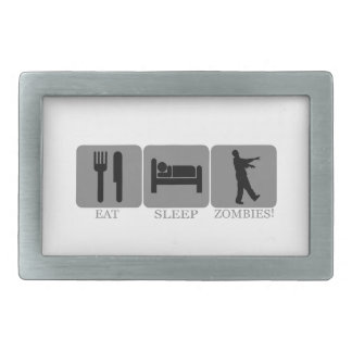 Eat Sleep Zombies Rectangular Belt Buckle