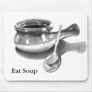 EAT SOUP: PENCIL ART: BOWL, SPOON MOUSE PAD