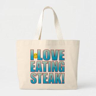Eat Steak Life B Large Tote Bag