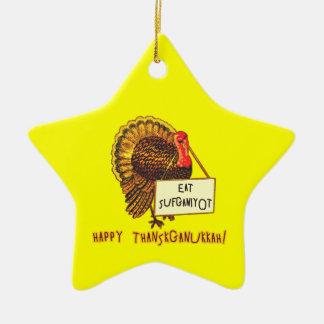 Eat Sufganiyot Funny Thanksgiving Hanukkah Tee Ceramic Ornament