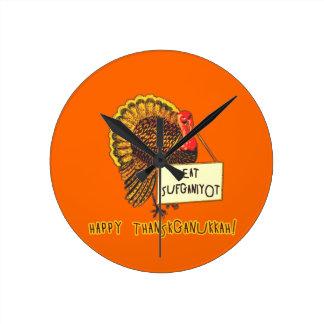 Eat Sufganiyot Funny Thanksgiving Hanukkah Tee Round Wallclock