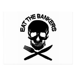 eat the bankers Skull and Bones Postcard