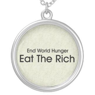 Eat The Rich Round Pendant Necklace