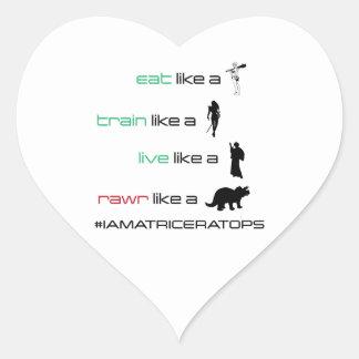 Eat. Train. Live. Rawr Heart Sticker