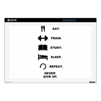 Eat. Train. Study. Sleep. Repeat. Never Give Upp. Laptop Decal