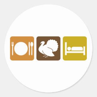 Eat Turkey and Sleep Classic Round Sticker