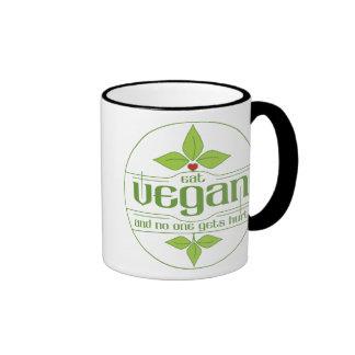 Eat Vegan and No One Gets Hurt Ringer Coffee Mug