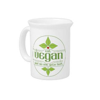 Eat Vegan and No One Gets Hurt Beverage Pitcher