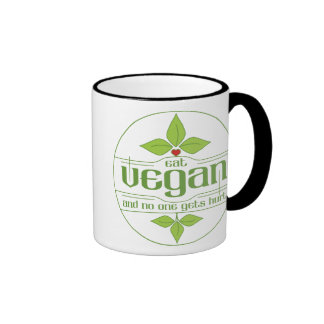 Eat Vegan and No One Gets Hurt Ringer Coffee Mug