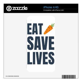 Eat Vegan - Save Lives Decals For iPhone 4