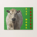 Eat Veggies - White Charolais Cattle - Western Jigsaw Puzzles