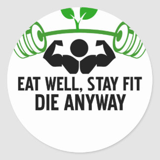 eat well classic round sticker