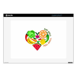 """eat well feel swell decal for 15"""" laptop"""