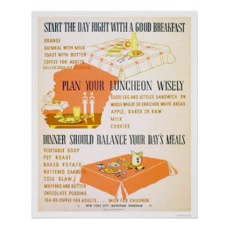 Eat Wisely Stay Healthy 1942 WPA Poster