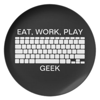 Eat, Work, Play Geek KEYBOARD black white plate