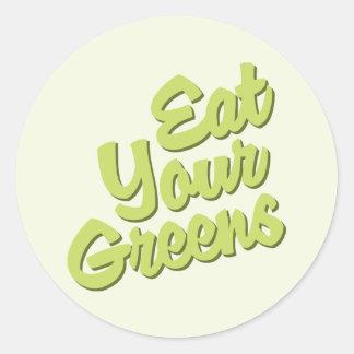 Eat Your Greens Round Sticker