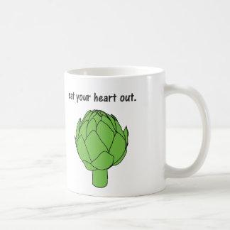 eat your heart out. (artichoke) coffee mug