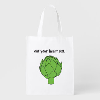 eat your heart out. (artichoke) grocery bag