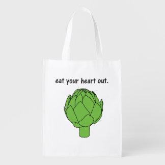 eat your heart out. (artichoke) reusable grocery bag