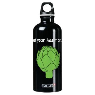 eat your heart out. (artichoke) <white text> aluminum water bottle