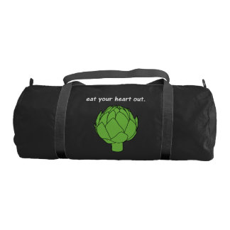 eat your heart out. (artichoke)<white text> gym bag