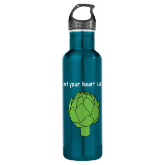 eat your heart out. (artichoke)<white text> water bottle