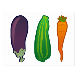 Eat Your Veggies Carrot Zucchini Eggplant Postcard