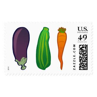 Eat Your Veggies Carrot Zucchini Eggplant US Stamp