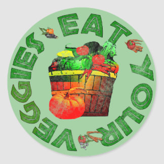 Eat Your Veggies Classic Round Sticker
