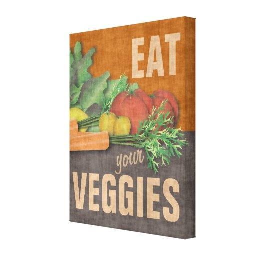 Kitchen Wall Decor Eat : Eat your veggies kitchen wall decor art canvas print zazzle