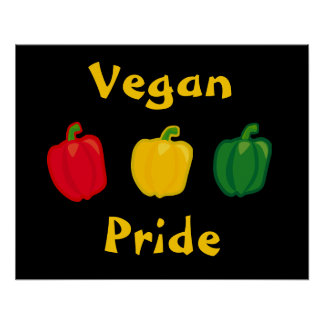 Eat Your Veggies Peppers Vegan Pride Poster