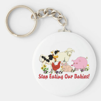 Eating Animal Babies Basic Round Button Keychain