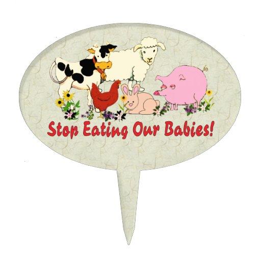 Eating Animal Babies Cake Pick