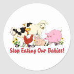 Eating Animal Babies Classic Round Sticker