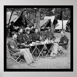Eating at the Camp Mess at Bealeton VA 1863 Print