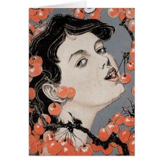 Eating Cherries - Art Nouveau - Jugend 1896 Card