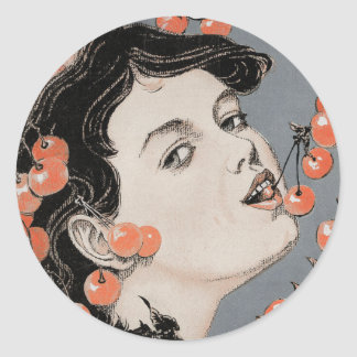Eating Cherries - Art Nouveau - Jugend 1896 Classic Round Sticker