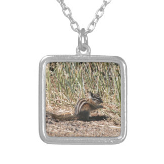 Eating Chipmunk Silver Plated Necklace