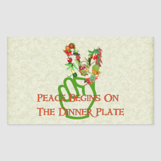 Eating For Peace Rectangular Sticker
