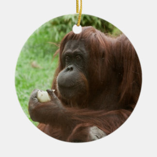Eating Orangutan Double-Sided Ceramic Round Christmas Ornament