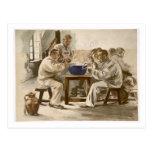 Eating Soup at the Barracks, from 'L'Estampe Moder Postcard