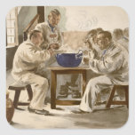Eating Soup at the Barracks, from 'L'Estampe Moder Square Sticker