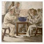Eating Soup at the Barracks, from 'L'Estampe Moder Tile