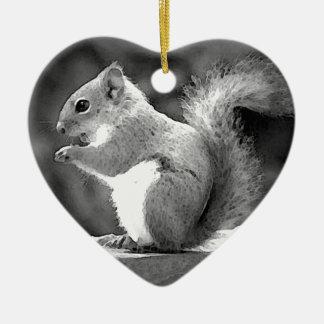 Eating Squirrel Ceramic Ornament