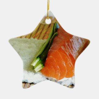 Eating Sushi Food Health Rice Sesame Salmon Fish Ceramic Ornament