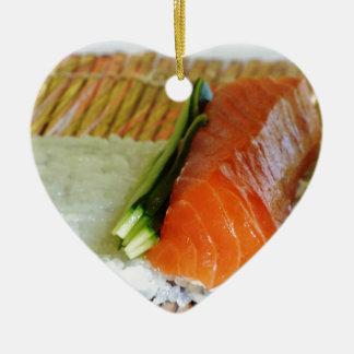 Eating Sushi Food Health Rice Sesame Salmon Fish Ceramic Heart Decoration