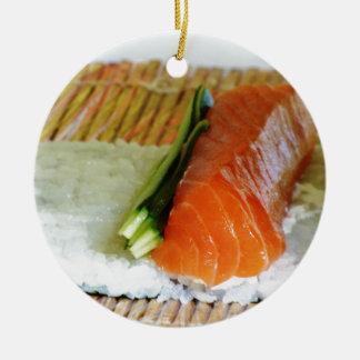 Eating Sushi Food Health Rice Sesame Salmon Fish Round Ceramic Decoration