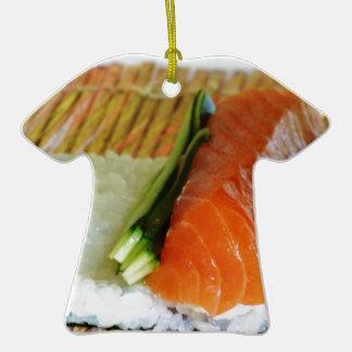 Eating Sushi Food Health Rice Sesame Salmon Fish Ceramic T-Shirt Decoration